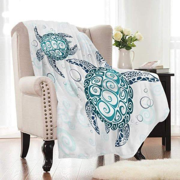 Ocean Blue Coral Sea Turtles Smooth-Fleece Throw Blanket