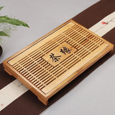 Tea Tray Solid Natural Wood with Water Drainage Area