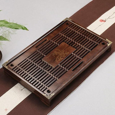 Tea Tray Solid Natural Wood with Water Drainage Area or Tea Box Storage Drawer Elegant Home Decor Tea Set Mobile Table Top Chinese Tea Ceremony