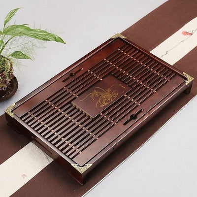Dark Brown Tea Tray Solid Natural Wood with Water Drainage Area at HOMAURA®