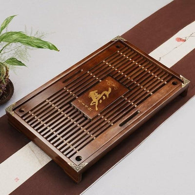 Shop Tea Tray Solid Natural Wood with Water Drainage Area at HOMAURA®