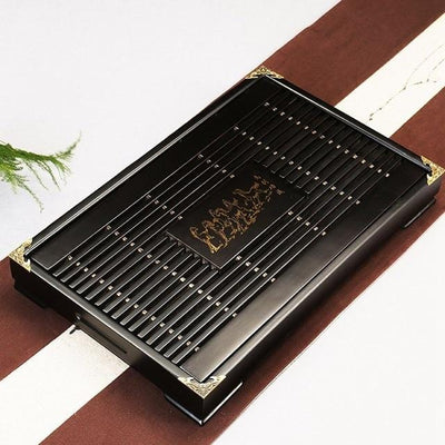 Black Tea tray with drainage area