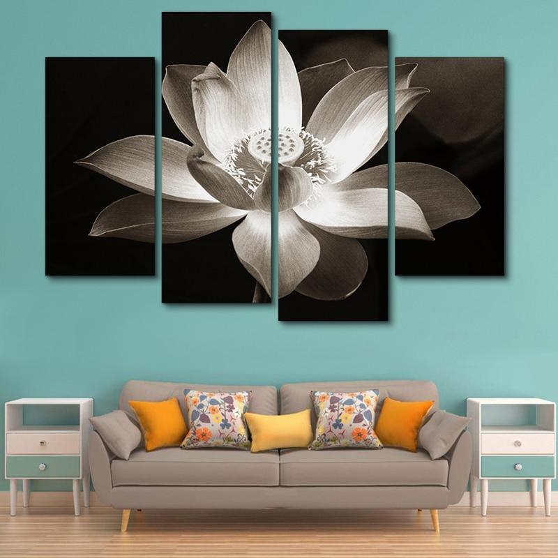 Modern Lotus Flower 4Pcs Wall Art Canvas