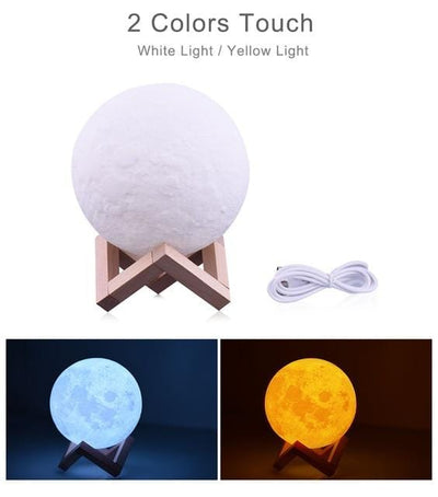 LED Night Light 3D Print Moon Lamp Dimmable Touch Control USB Charge