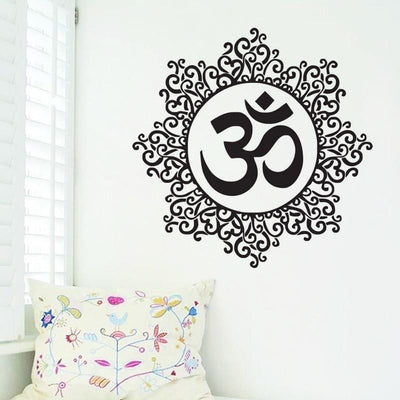 Wall Art Wall Sticker Decal Namaste Quote Vinyl Sticker with Om Mandala