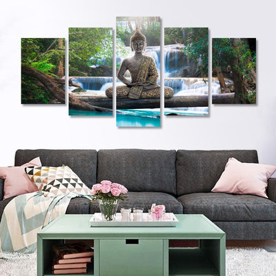 Buddha Waterfall Wall Art 5pc Prints Poster Canvas