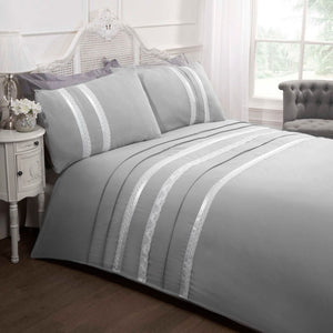Grey Annabella Embroidered Duvet Cover Set by Rapport