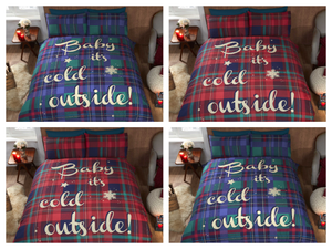 Red BABY IT'S COLD OUTSIDE Tartan Duvet Cover Set by Rapport
