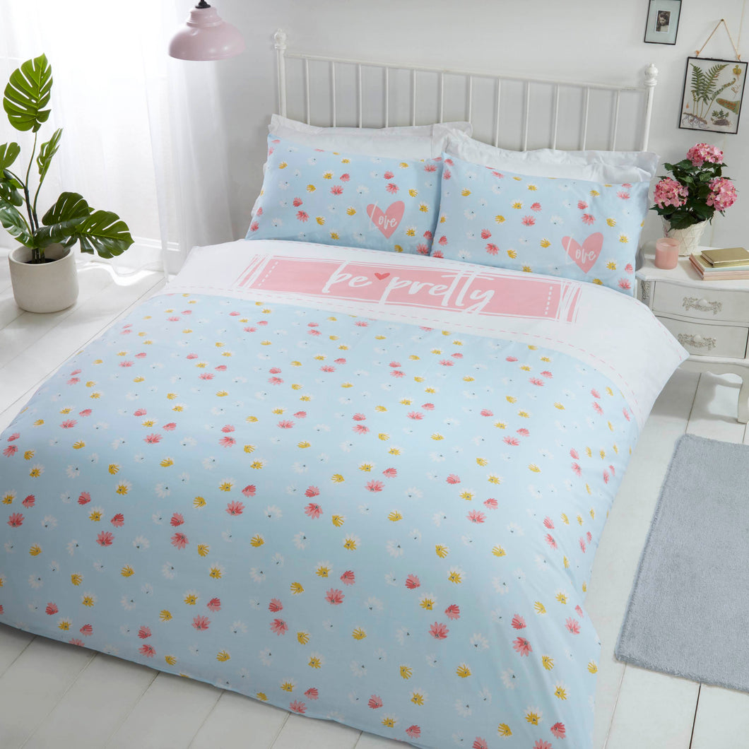 Duck Egg Blue BE PRETTY Duvet Cover Set by Rapport