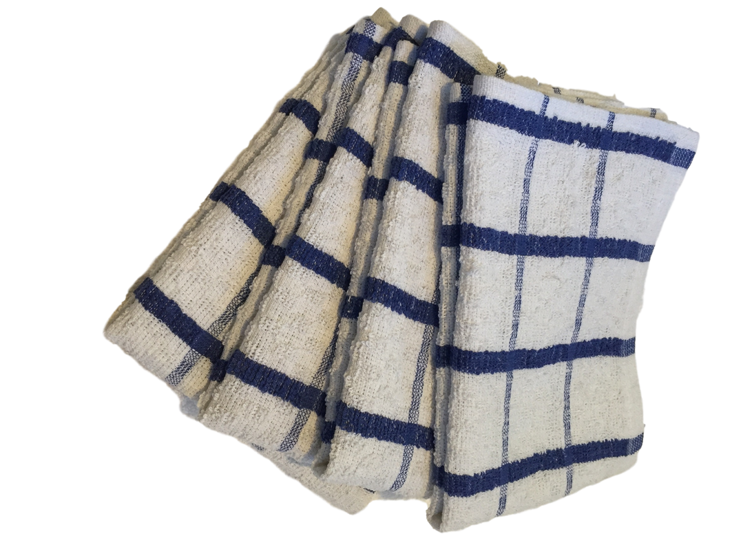 4 x Blue Extra Large Cotton TEA TOWELS