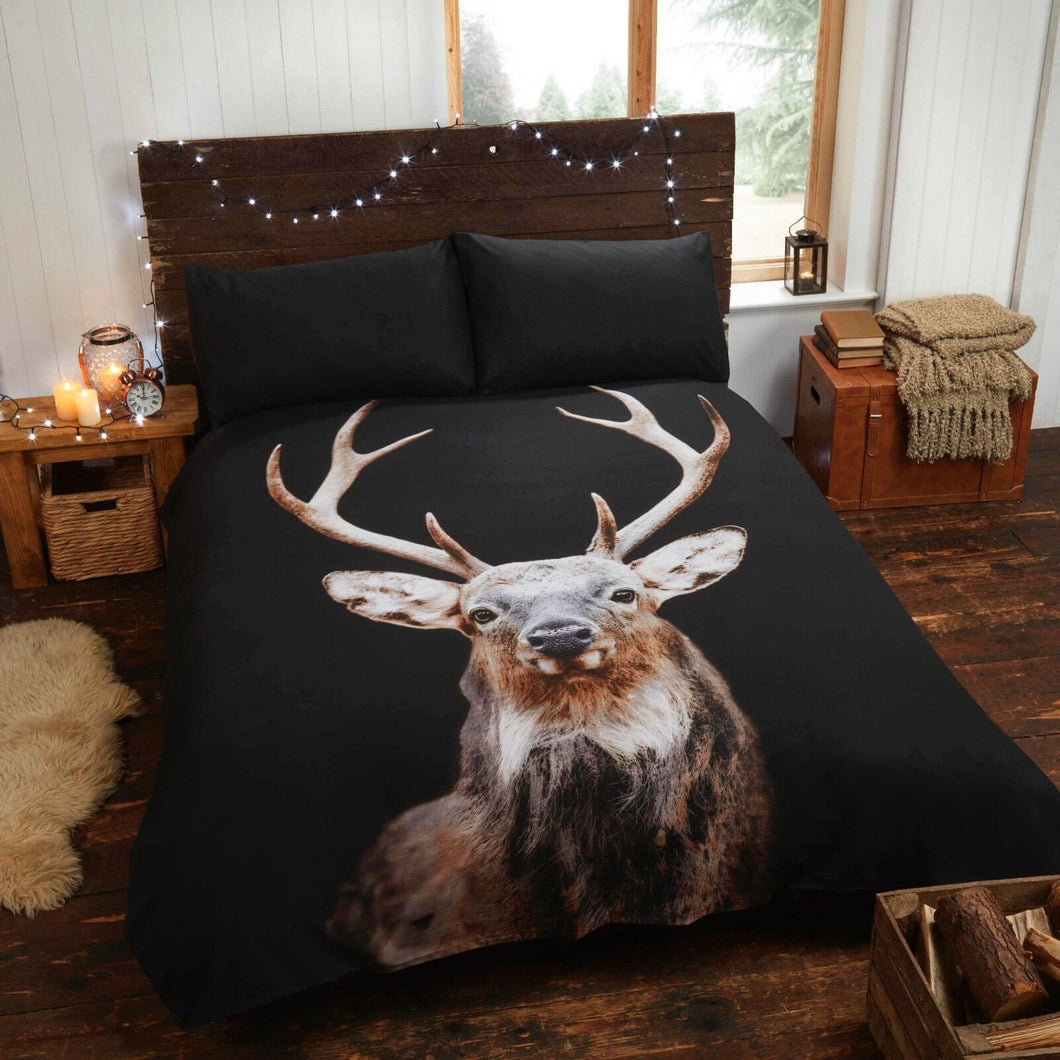 Black & Natural CALEDONIAN STAG Duvet Cover Set by Rapport