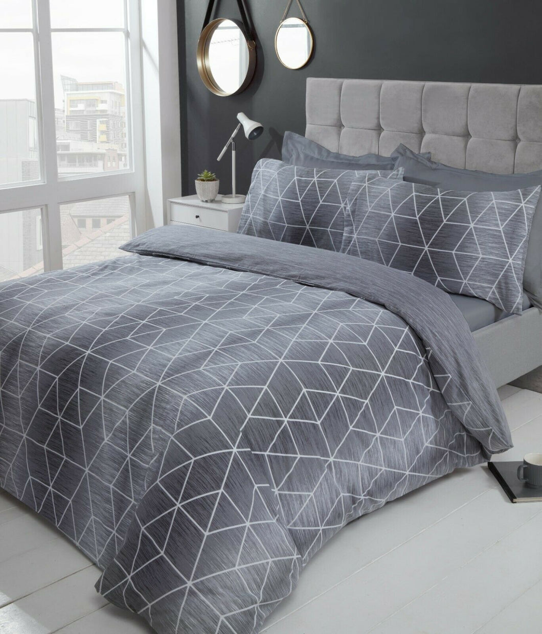 Grey CALVIN Reversible Geometric Duvet Cover Set by Rapport