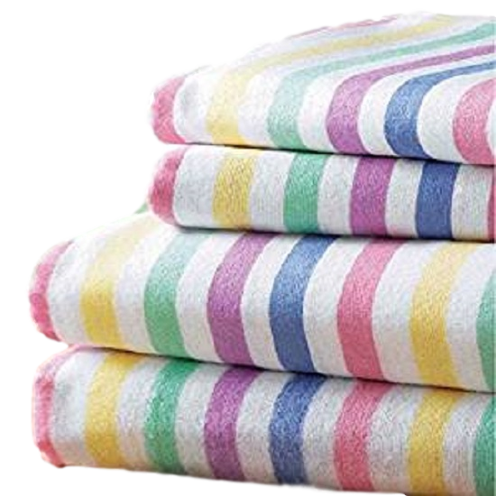 Multi CANDY STRIPE Flannelette Fitted Sheet by Bedding Heaven