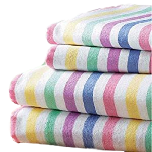 Multi CANDY STRIPE Flannelette Flat Sheet by Bedding Heaven