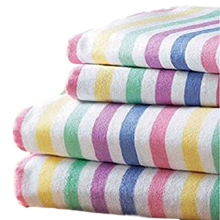 Multi Flannelette Candy Stripe Duvet Cover & Pillowcases by Bedding Heaven