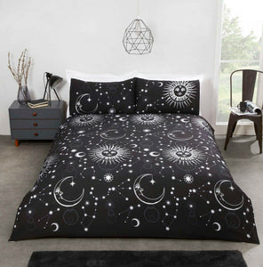 Black CELESTIAL Reversible Duvet Cover Set by Rapport