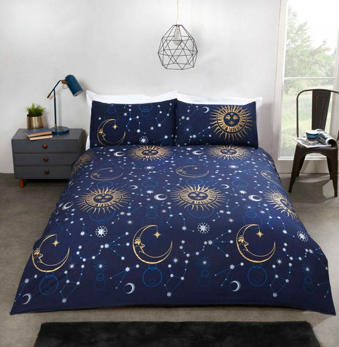 Navy Celestial Reversible Duvet Cover Set by Rapport