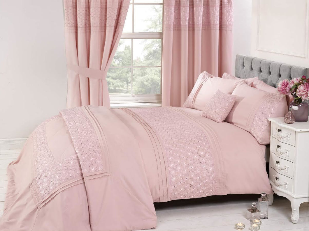 Pink EVERDEAN Embroidered Duvet Cover Set by Rapport