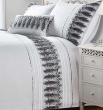 White FEATHERS Embroidered Duvet Cover Set by Rapport