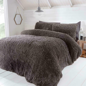 Grey SHAGGY TEDDY Faux Fur Duvet Cover Set by Rapport