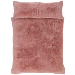 Pink SHAGGY TEDDY Faux Fur Duvet Cover Set by Rapport