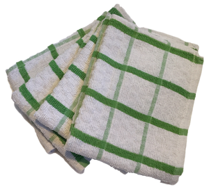 4 x Green Extra Large Cotton TEA TOWELS