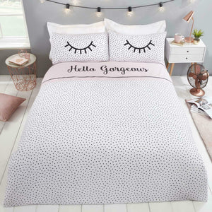 Pink & White HELLO GORGEOUS Reversible Duvet Cover Set by Rapport