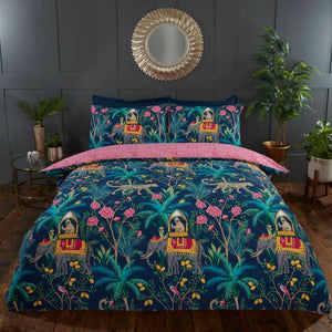 Navy JUNGLE EXPEDITION Reversible Duvet Cover Set by Rapport