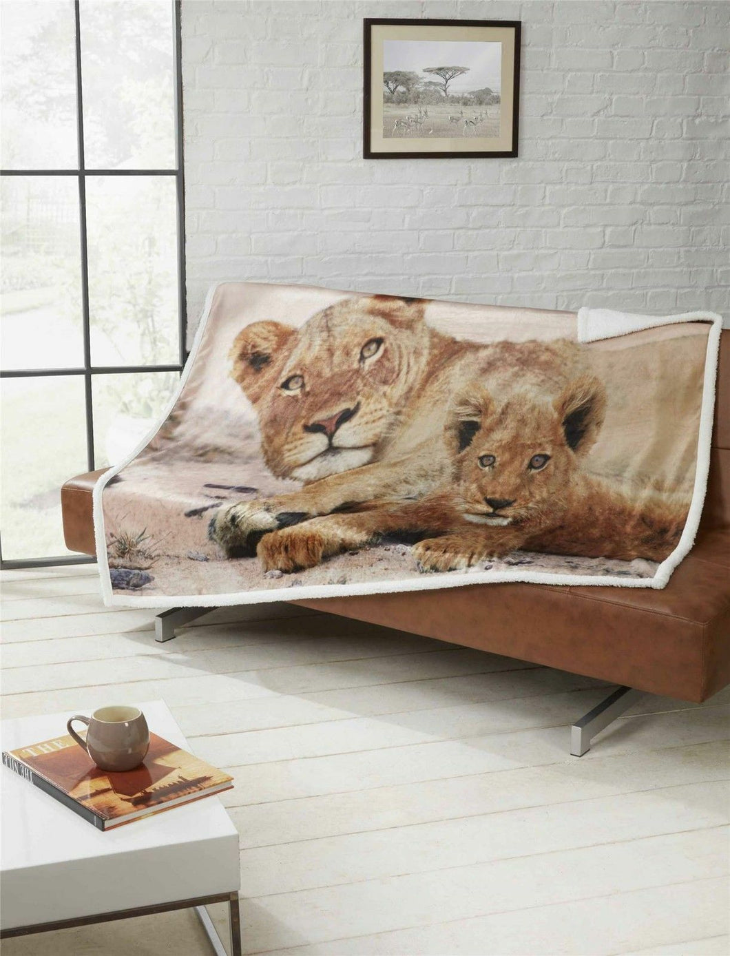 Beige LIONS Sherpa Fleece Throw - 130 x 160cm by Rapport