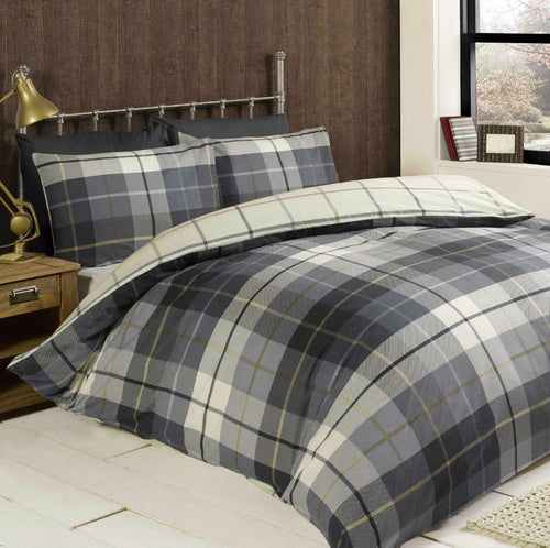 Blue Lomond Check Flannelette Duvet Cover Set by Rapport