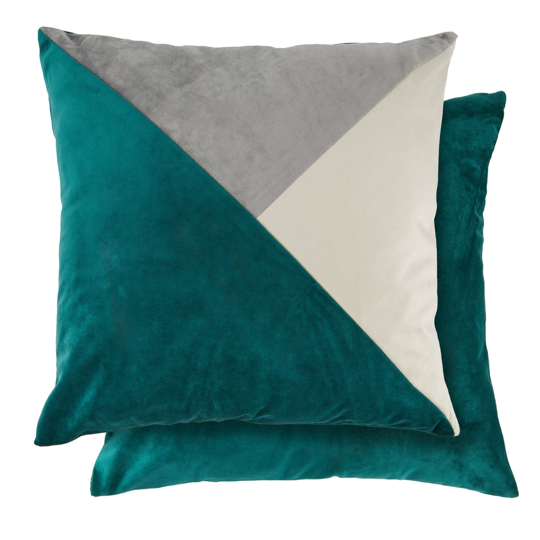 PICASSO Velvet Cushion, 43 x 43cm, Emerald/Silver/Cream