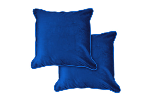 CHELSEA Velvet Soft Piped Cushion, 43 x 43cm, Blue