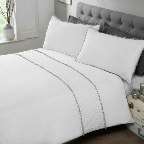 White & Grey POM POM TRIM Duvet Cover Set by Rapport