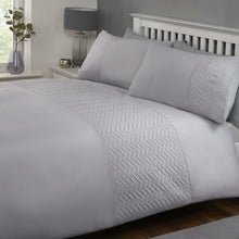 Silver Porto Herringbone Pinsonic Band Duvet Cover Set by Rapport