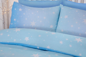 Ice Blue Flannelette Starburst Reversible Pair of Pillowcases by Bedding Heaven