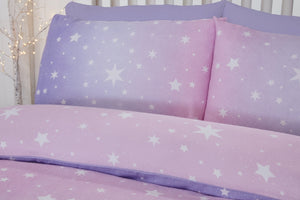 Blush Flannelette Starburst Reversible Pair of Pillowcases by Bedding Heaven