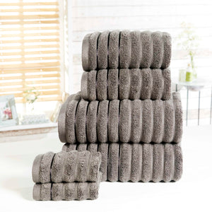 Charcoal 100% Combed Cotton Ribbed Bathroom Towels 600gsm by Rapport