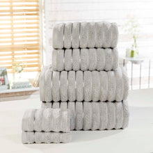 Silver 100% Combed Cotton RIBBED Bathroom Towels 600gsm by Rapport