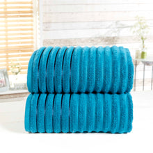 Teal 100% Combed Cotton RIBBED Bathroom Towels 600gsm by Rapport
