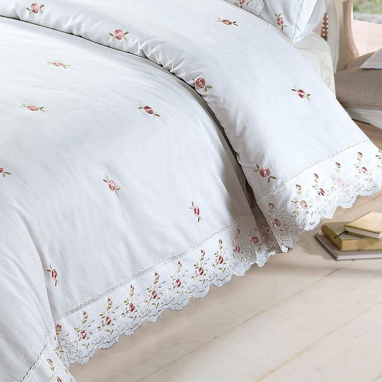 White Sophie Embroidered Duvet Cover Set By Rapport Bedding Heaven