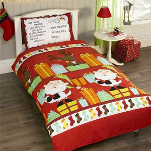 Red SANTA'S LIST Christmas Duvet Cover Set by Rapport
