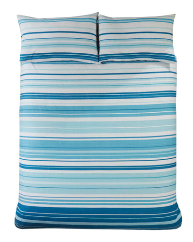 Blue Stratford Stripe Print Duvet Cover Set by Rapport