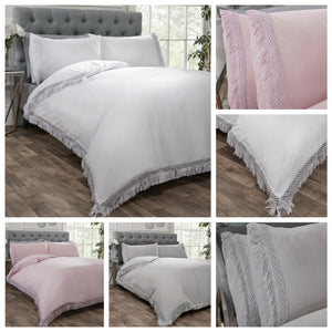 Blush Pink TIA TRELLIS Fringe Duvet Cover Set by Rapport
