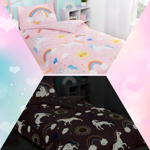 Pink UNICORN & RAINBOWS Print Duvet Cover Set by Rapport