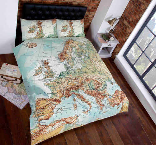 Vintage Map Duvet Cover Set by Rapport