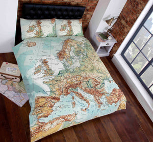 Green VINTAGE MAP Duvet Cover Set by Rapport