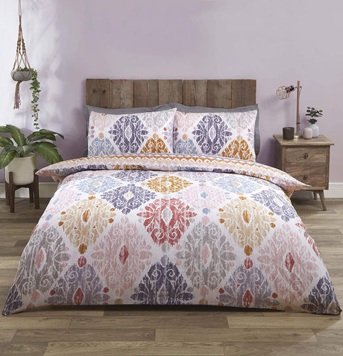 Blush Zara Reversible Moroccan Print Duvet Cover Set by Rapport