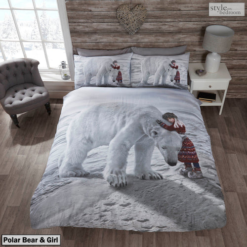 Anoushka Girl & Polar Bear Duvet Cover Set by Rapport (Single Bed Size Only)