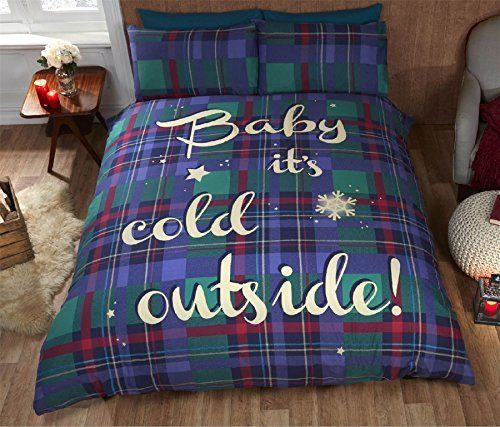 Blue Baby It's Cold Outside Tartan Duvet Cover Set by Rapport