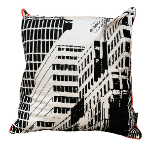 CITY SCENE Embroidered Cushion, 45 x 45cm, Mono & Red